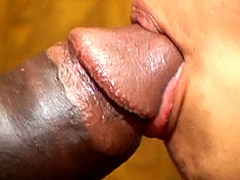 Black brotha face fuck hairy pussy ebony chick and facial