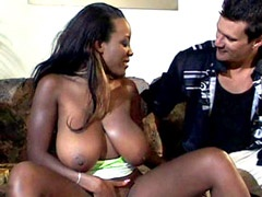 Big tits ebony drilled in all holes and gets facial cum blasts