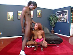 Hot black slut gets her huge boobs fucked