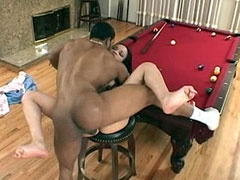 Ebony babe having wild sex on a billiard table