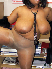 Big breasted black mom in stockings