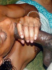 Old Black Milf sucks hubby's big dick,..