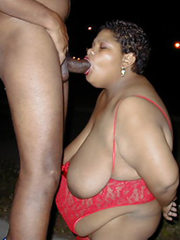 Very thick black granny takes a dick in..