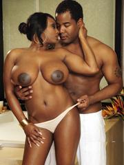 Chubby ebony MILF with big tits fucking..