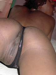 Busty black honey spreading on the bed