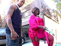 Hairy chubby ebony whore sucking massive black rod and fucked