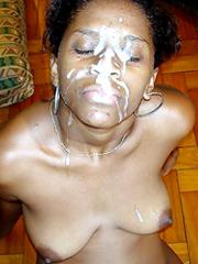 Elder ebony women huge facial cumshot